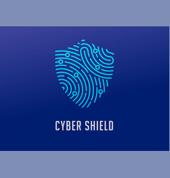 Fingerprint scan logo privacy shield icon cyber vector