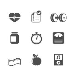 Fitness icons set contrast flat vector image