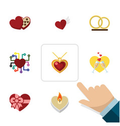 flat icon amour set of celebration fire wax vector image