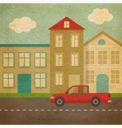 Flat urban landscape in retro style vector image