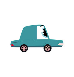 funny cartoon comic style car character mascot vector image