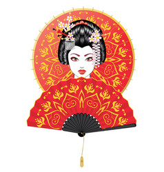 geisha with fan and umbrella vector image