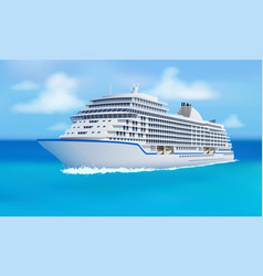 Great cruise liner ocean blue sky in flat style vector