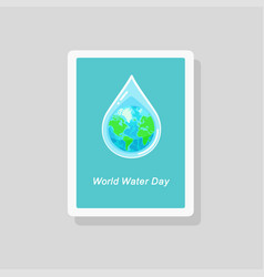 greeting card with earth inside water drop vector image
