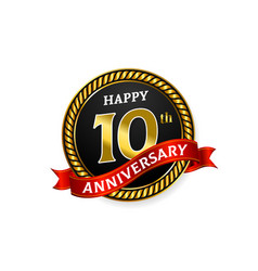 happy 10 years golden anniversary logo vector image