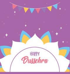 happy dussehra festival india mandala flower vector image