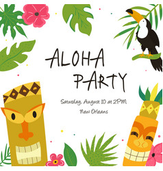 Hawaiian luau party invitation template banner vector