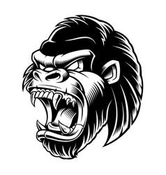 Head of gorilla black and white version vector