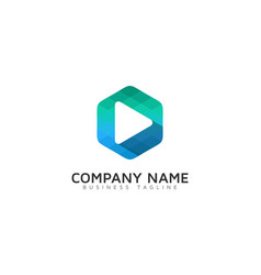 hexagon video logo icon design vector image