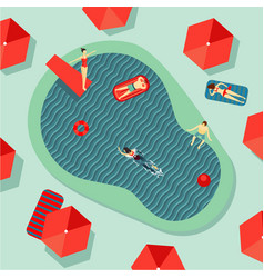 hotel swimming pool top view with people on a rest vector image