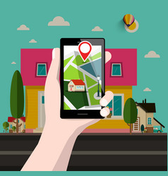 House on address gps location smartphone vector
