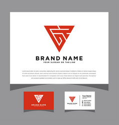Initials gr logo with a business card vector
