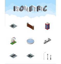 Isometric architecture set of path recreation vector