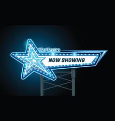 Light sign billboard cinema star shape vector