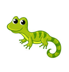 little funny green lizard in a cartoon style vector image