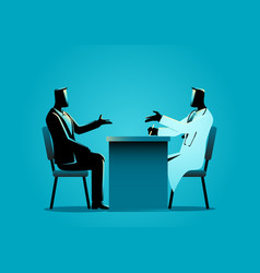 Man having consultation with doctor vector