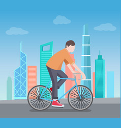 man riding on bike on background of skyscrapers vector image