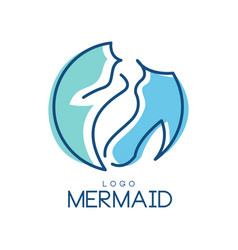 Mermaid logo design element for badge invitation vector