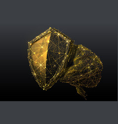 mind protection low poly gold vector image