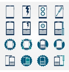 Mobile phone repair icons set vector