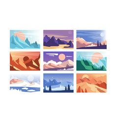 mountain landscape set scenes of nature in vector image