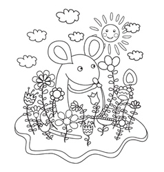 mouse coloring book vector image