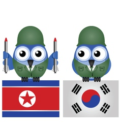 NORTH SOUTH KOREA FLAGS vector image
