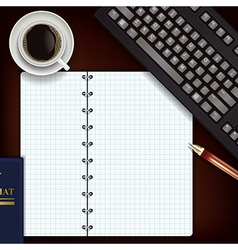 Office desk with coffee keyboard and notepad vector