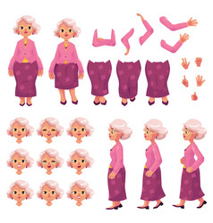 Old senior woman character creation set vector
