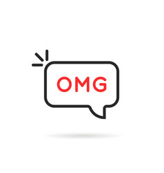 omg word in thin line bubble vector image