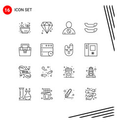 Pack 16 creative outlines toolkit vector