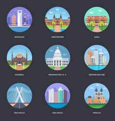 Pack of world cities 3 vector