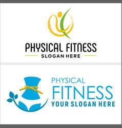 Physical fitness lifestyle women logo design vector
