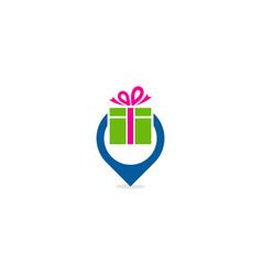 pin gift logo icon design vector image