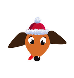 Portrait of cute cartoon dachshund dog dressed in vector
