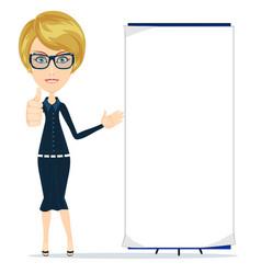 Portrait of the business woman with a poster vector