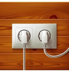 Realistic electric double white socket and two vector