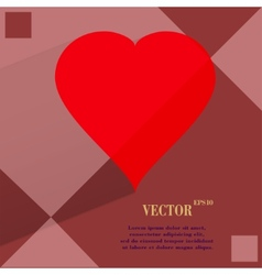 red heart web icon on a flat geometric abstract vector image