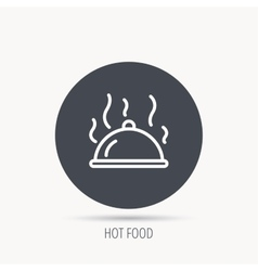 Restaurant cloche icon Hot food sign vector