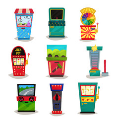 Retro arcade game machines set claw crane vector