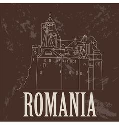 Romania landmarks retro styled image vector