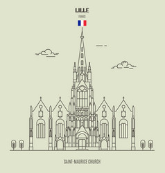 saint-maurice church in lille vector image