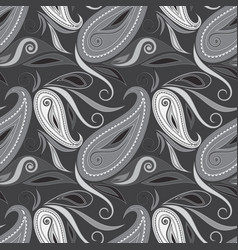 Seamless black and white paisley pattern vector