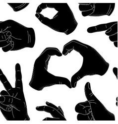 seamless pattern vintage human hand gestures vector image