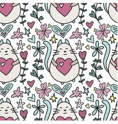 Seamless pattern with a lovely cartoon cat vector