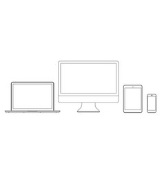 set monitors laptop tablet and phone in lines vector image
