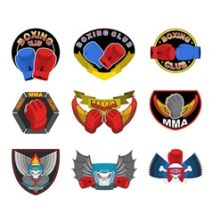 Set of boxing emblems logos and stripes MMA fight vector