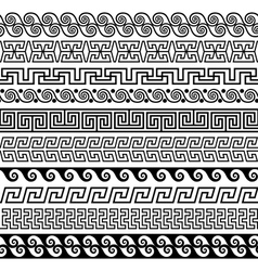 Set of brushes to create the Greek Meander vector image