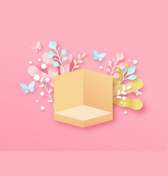 spring paper cut pink flower copy space template vector image