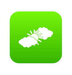 sun and clouds icon digital green vector image